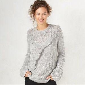 🆕LC Lauren Conrad gray ruffle bell sleeve sweater